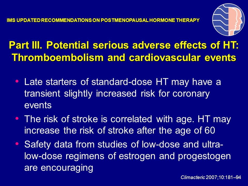 Late starters of standard-dose HT may have a transient slightly increased risk for coronary events The risk of stroke is correlated with age. HT may i