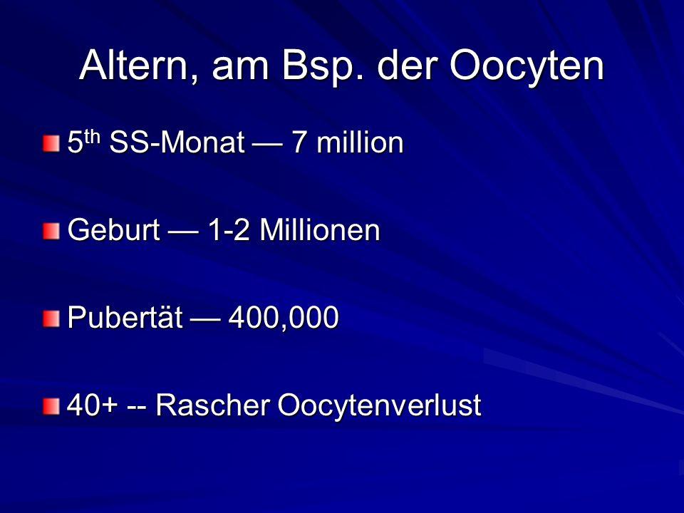 Altern, am Bsp. der Oocyten 5 th SS-Monat 7 million Geburt 1-2 Millionen Pubertät 400,000 40+ -- Rascher Oocytenverlust