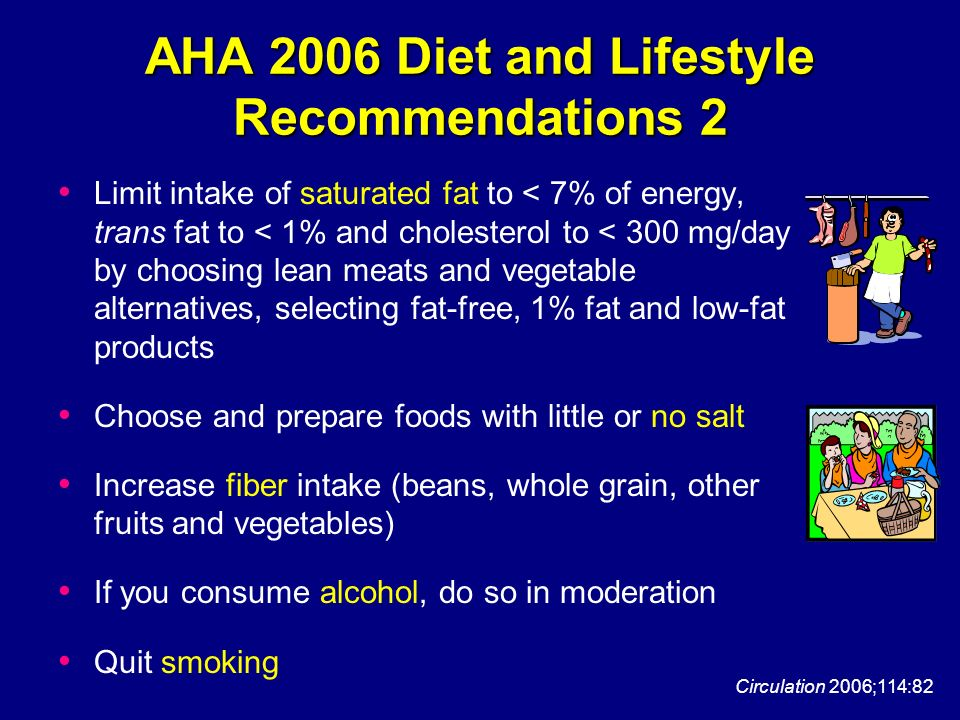AHA 2006 Diet and Lifestyle Recommendations 2 Limit intake of saturated fat to < 7% of energy, trans fat to < 1% and cholesterol to < 300 mg/day by ch