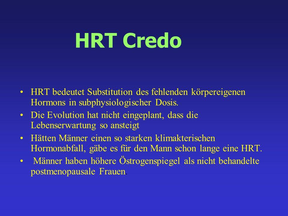 HRT Credo HRT bedeutet Substitution des fehlenden körpereigenen Hormons in subphysiologischer Dosis. Die Evolution hat nicht eingeplant, dass die Lebe