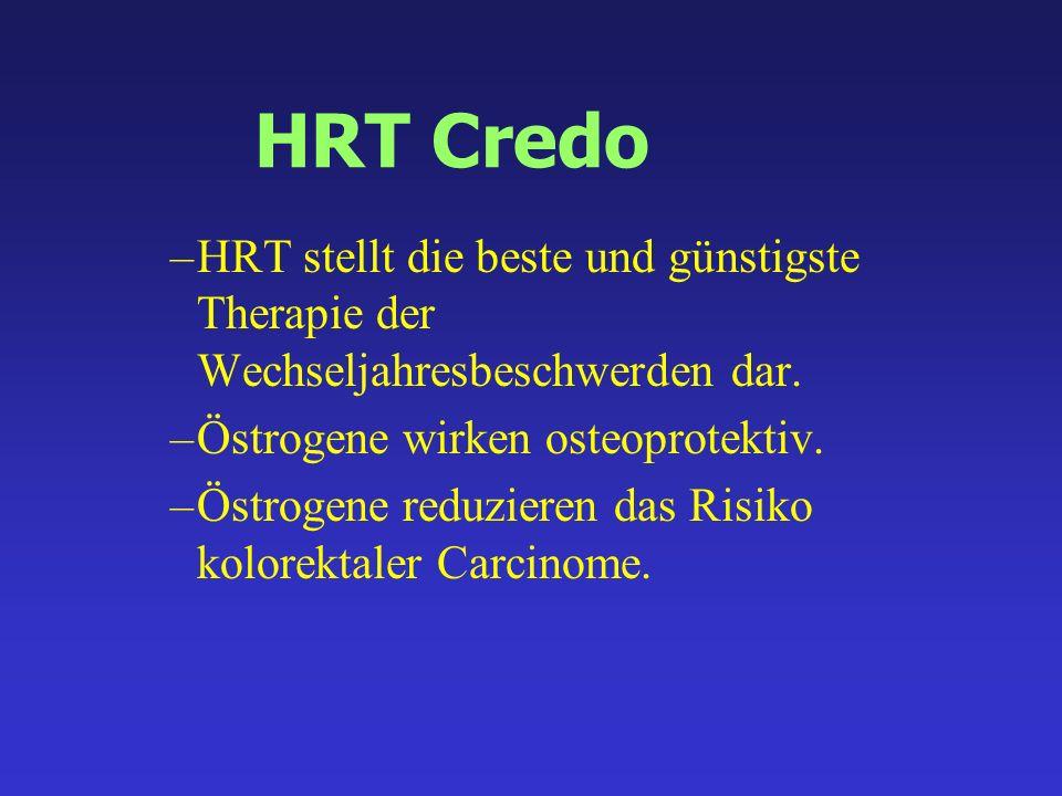 HRT Credo –HRT stellt die beste und günstigste Therapie der Wechseljahresbeschwerden dar. –Östrogene wirken osteoprotektiv. –Östrogene reduzieren das