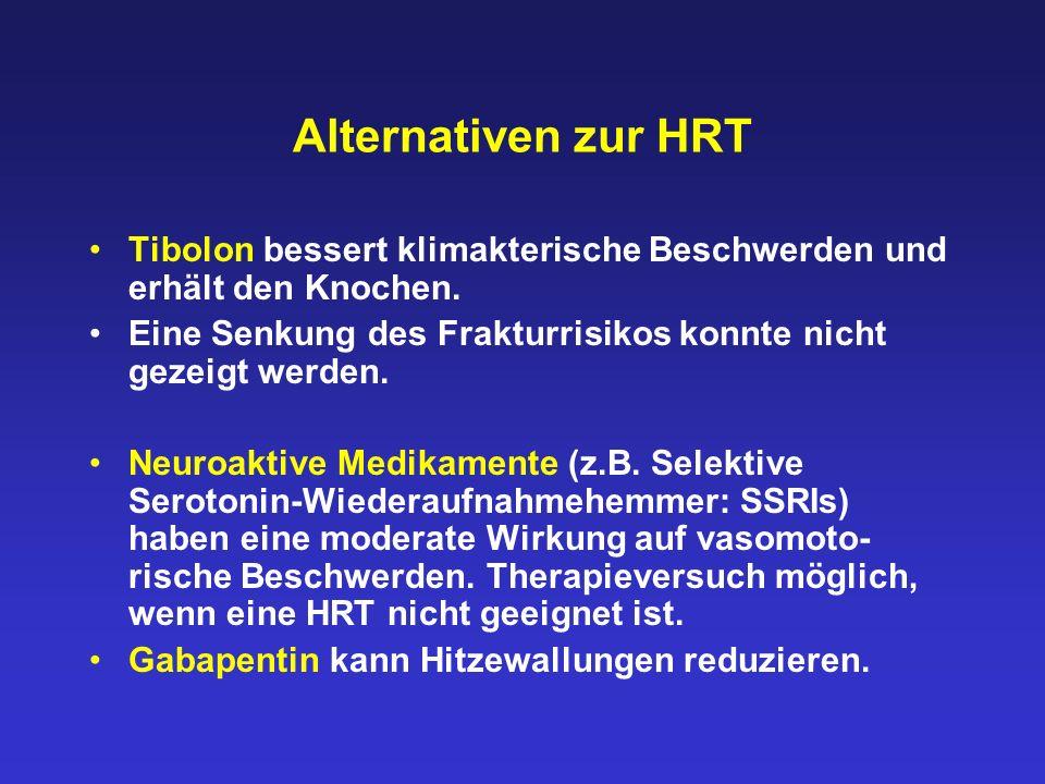 Alternativen zur HRT Tibolon bessert klimakterische Beschwerden und erhält den Knochen. Eine Senkung des Frakturrisikos konnte nicht gezeigt werden. N