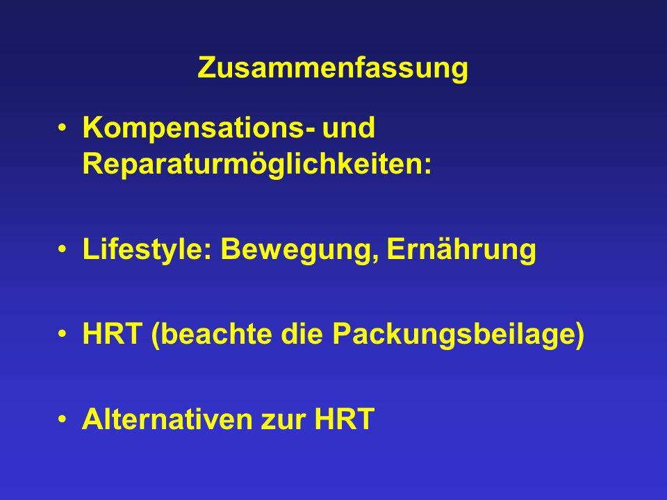 Zusammenfassung Kompensations- und Reparaturmöglichkeiten: Lifestyle: Bewegung, Ernährung HRT (beachte die Packungsbeilage) Alternativen zur HRT