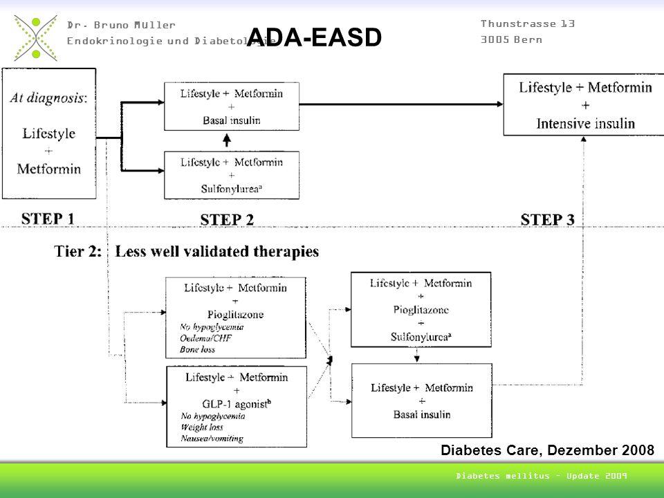 Dr. Bruno Müller Endokrinologie und Diabetologie Thunstrasse 13 3005 Bern Diabetes mellitus – Update 2009 ADA-EASD Diabetes Care, Dezember 2008