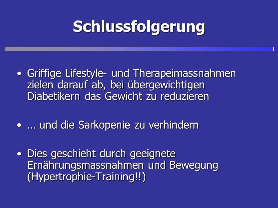 Schlussfolgerung Griffige Lifestyle- und Therapeimassnahmen zielen darauf ab, bei übergewichtigen Diabetikern das Gewicht zu reduzierenGriffige Lifest