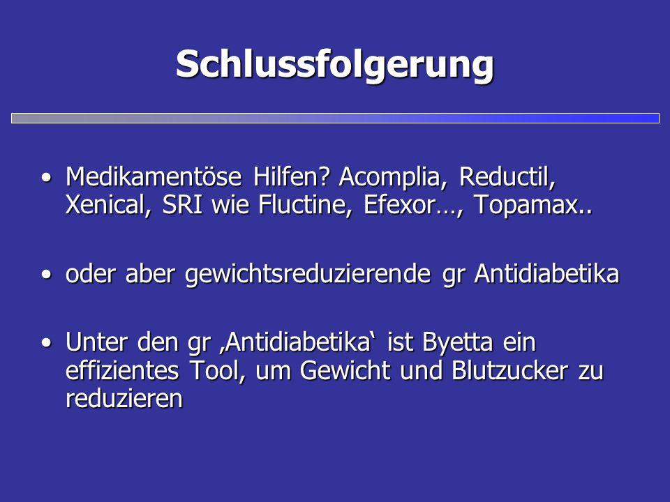 Schlussfolgerung Medikamentöse Hilfen? Acomplia, Reductil, Xenical, SRI wie Fluctine, Efexor…, Topamax..Medikamentöse Hilfen? Acomplia, Reductil, Xeni