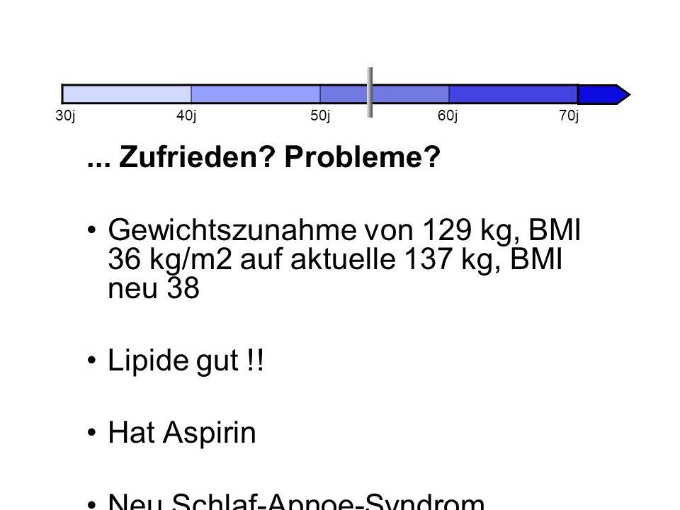 ... Zufrieden? Probleme? Gewichtszunahme von 129 kg, BMI 36 kg/m2 auf aktuelle 137 kg, BMI neu 38 Lipide gut !! Hat Aspirin Neu Schlaf-Apnoe-Syndrom 3