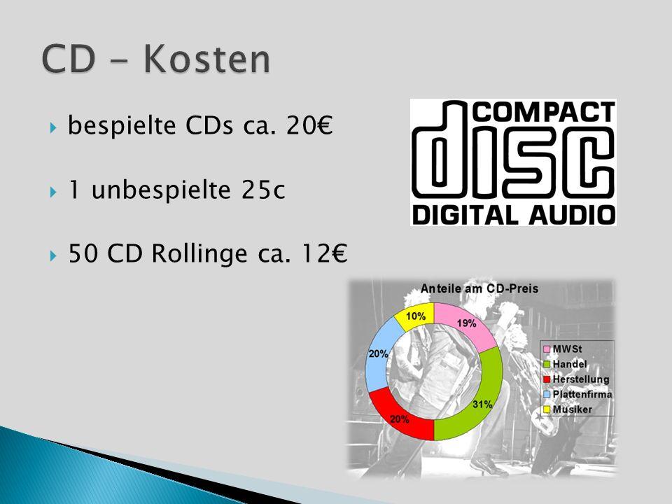 bespielte CDs ca. 20 1 unbespielte 25c 50 CD Rollinge ca. 12