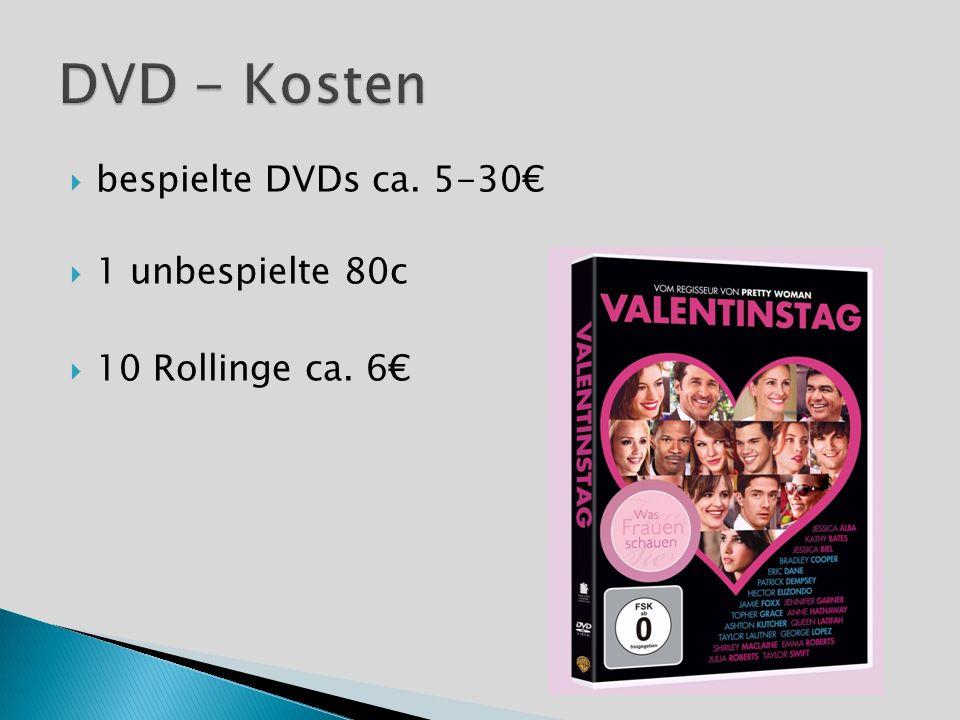 bespielte DVDs ca. 5-30 1 unbespielte 80c 10 Rollinge ca. 6