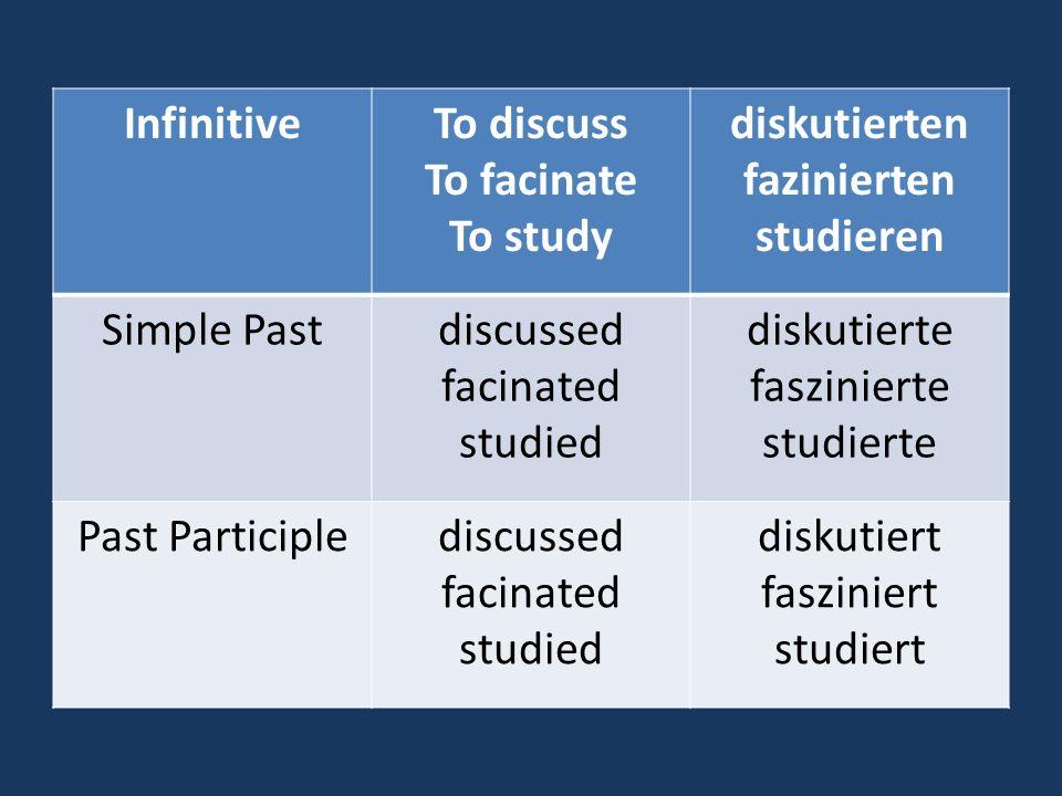 InfinitiveTo discuss To facinate To study diskutierten fazinierten studieren Simple Pastdiscussed facinated studied diskutierte faszinierte studierte Past Participlediscussed facinated studied diskutiert fasziniert studiert