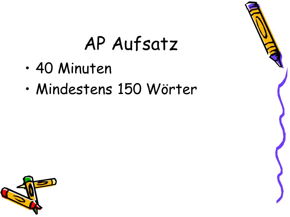 Beispiele http://apcentral.collegeboard.com/apc/members/repository /german_lang_01_7007.pdfhttp://apcentral.collegeboard.com/apc/members/repository /german_lang_01_7007.pdf http://apcentral.collegeboard.com/apc/public/repository/g erman_lang_frq_02_10304.pdfhttp://apcentral.collegeboard.com/apc/public/repository/g erman_lang_frq_02_10304.pdf http://apcentral.collegeboard.com/apc/public/repository/ap 03_frq_german_22959.pdfhttp://apcentral.collegeboard.com/apc/public/repository/ap 03_frq_german_22959.pdf http://apcentral.collegeboard.com/apc/public/repository/ap 04_frq_german_36154.pdfhttp://apcentral.collegeboard.com/apc/public/repository/ap 04_frq_german_36154.pdf http://apcentral.collegeboard.com/apc/public/repository/_ ap05_frq_germanlang_45554.pdfhttp://apcentral.collegeboard.com/apc/public/repository/_ ap05_frq_germanlang_45554.pdf http://apcentral.collegeboard.com/apc/public/repository/ap 07_german_lang_frq.pdfhttp://apcentral.collegeboard.com/apc/public/repository/ap 07_german_lang_frq.pdf