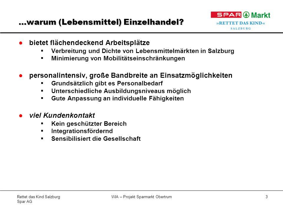 Rettet das Kind Salzburg Spar AG WIA – Projekt Sparmarkt Obertrum4 Wer sind unsere Zielgruppen.