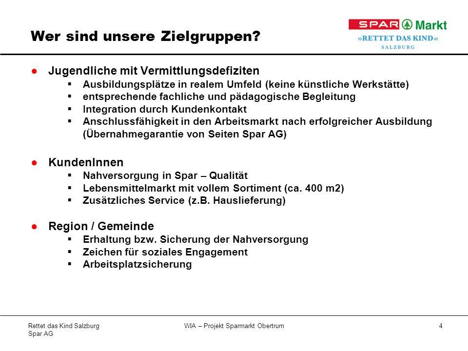 Rettet das Kind Salzburg Spar AG WIA – Projekt Sparmarkt Obertrum5 Wen & Wie bilden wir aus.