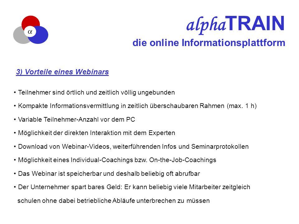 alpha TRAIN die online Informationsplattform 3) Vorteile eines Webinars Teilnehmer sind örtlich und zeitlich völlig ungebunden Kompakte Informationsvermittlung in zeitlich überschaubaren Rahmen (max.