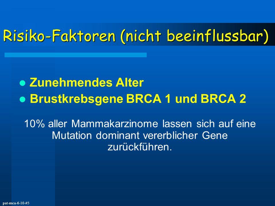 pat-mca-6-10-#5 Risiko-Faktoren (nicht beeinflussbar) Zunehmendes Alter Brustkrebsgene BRCA 1 und BRCA 2 10% aller Mammakarzinome lassen sich auf eine