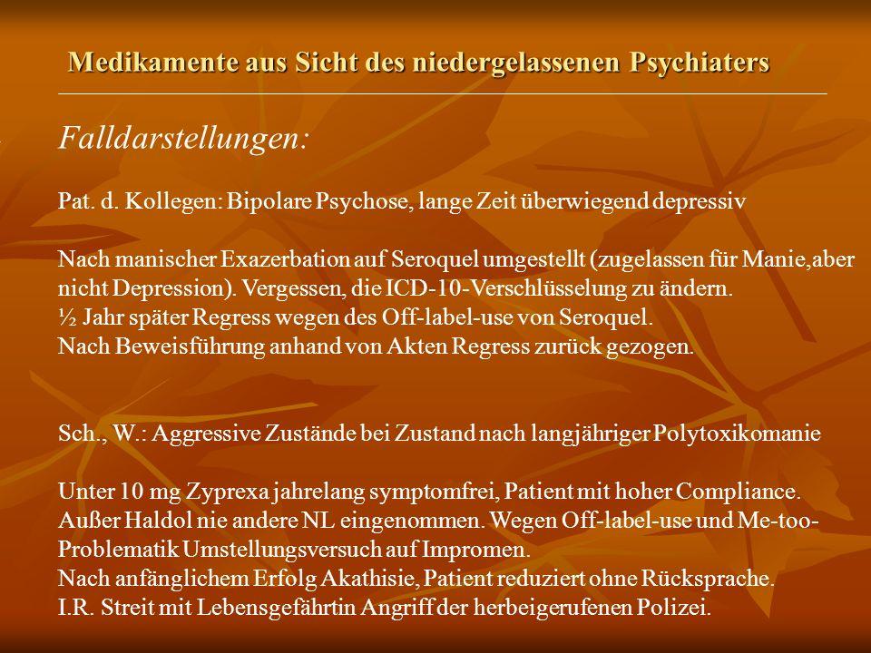 Medikamente aus Sicht des niedergelassenen Psychiaters Falldarstellungen: Pat.