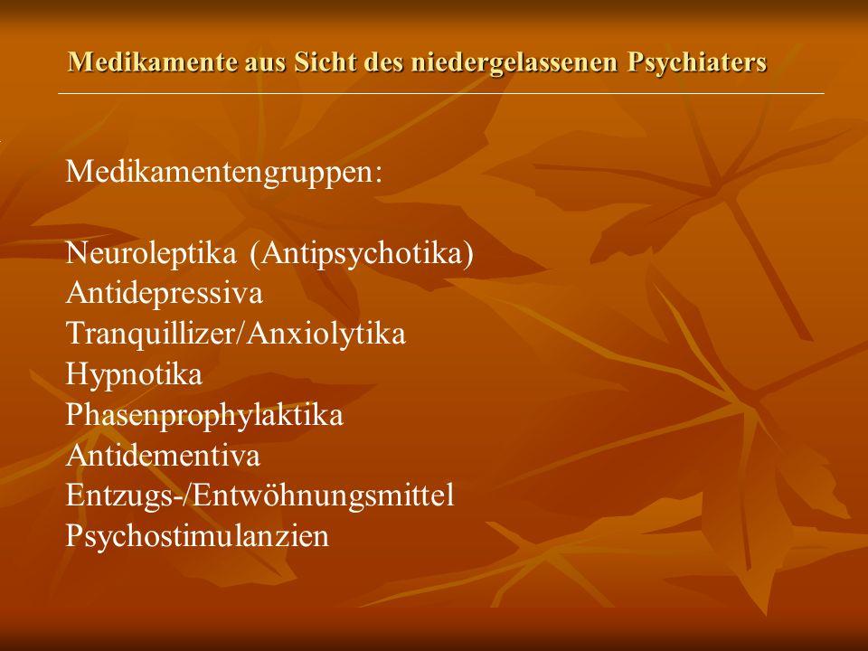 Medikamente aus Sicht des niedergelassenen Psychiaters Medikamentengruppen: Neuroleptika (Antipsychotika) Antidepressiva Tranquillizer/Anxiolytika Hypnotika Phasenprophylaktika Antidementiva Entzugs-/Entwöhnungsmittel Psychostimulanzien