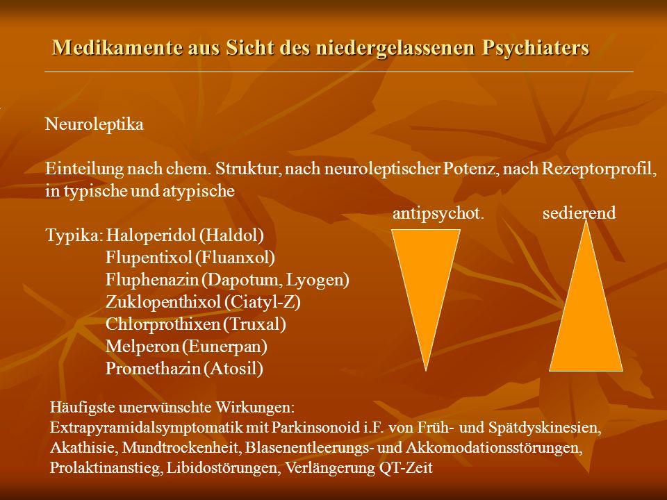 Medikamente aus Sicht des niedergelassenen Psychiaters Neuroleptika Einteilung nach chem.