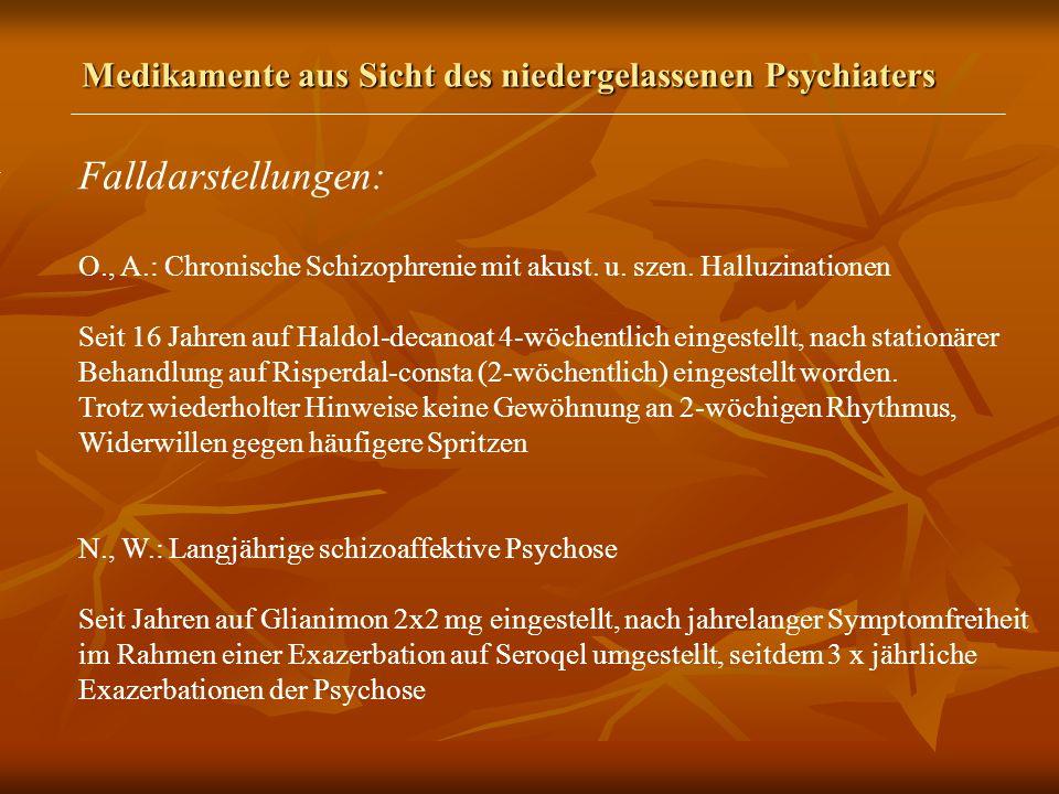 Medikamente aus Sicht des niedergelassenen Psychiaters Falldarstellungen: O., A.: Chronische Schizophrenie mit akust.