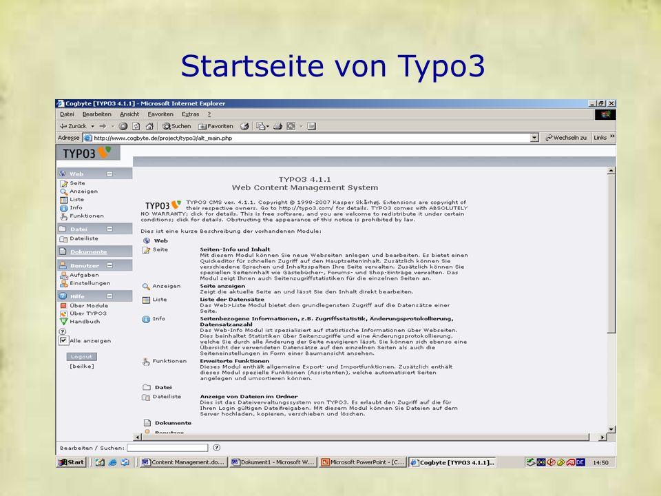 Startseite von Typo3