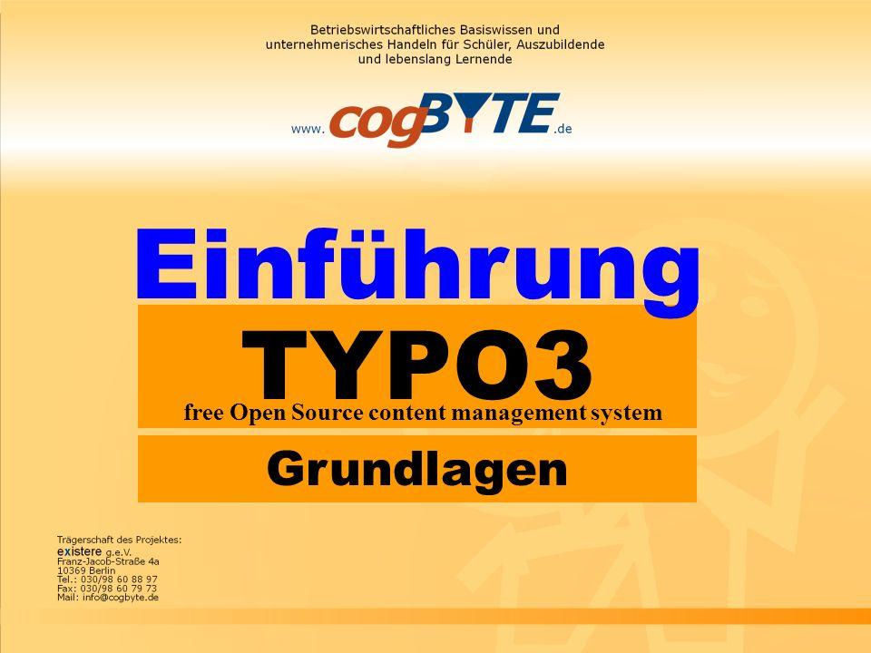 TYPO3 free Open Source content management system Einführung Grundlagen