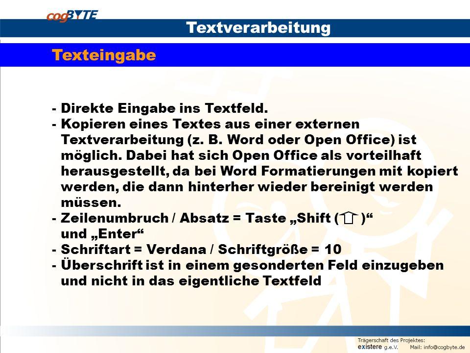 Textverarbeitung Texteingabe - Direkte Eingabe ins Textfeld.