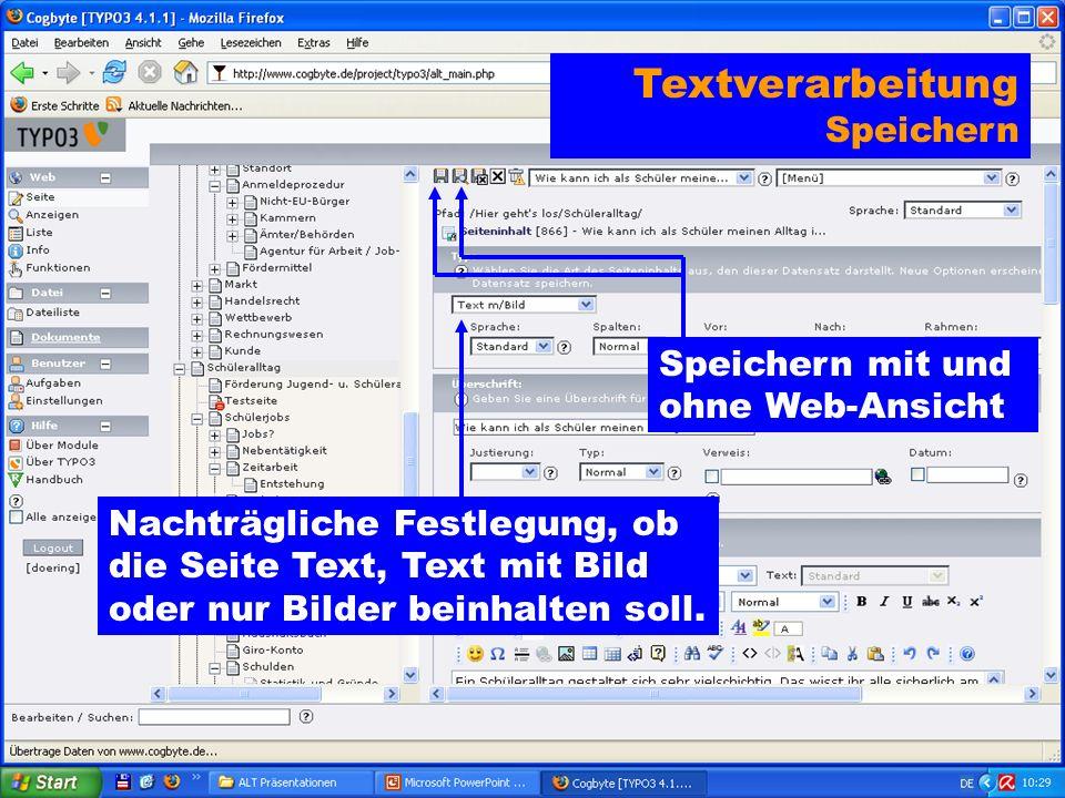 Speichern mit und ohne Web-Ansicht Textverarbeitung Speichern Nachträgliche Festlegung, ob die Seite Text, Text mit Bild oder nur Bilder beinhalten soll.