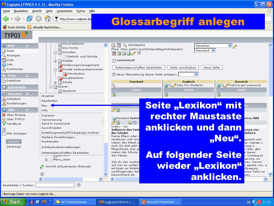 Seite Lexikon mit rechter Maustaste anklicken und dann Neu.
