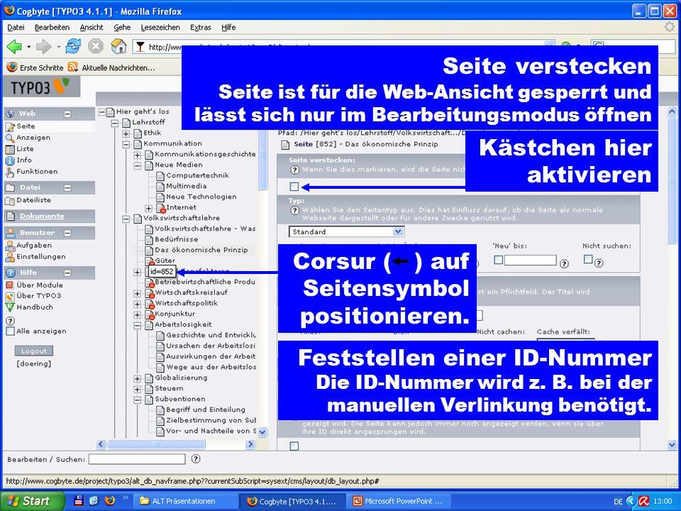 Corsur ( ) auf Seitensymbol positionieren.Feststellen einer ID-Nummer Die ID-Nummer wird z.