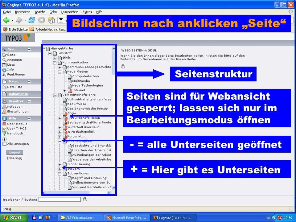 Bildschirm nach anklicken Seite Seitenstruktur + = Hier gibt es Unterseiten Seiten sind für Webansicht gesperrt; lassen sich nur im Bearbeitungsmodus öffnen - = alle Unterseiten geöffnet