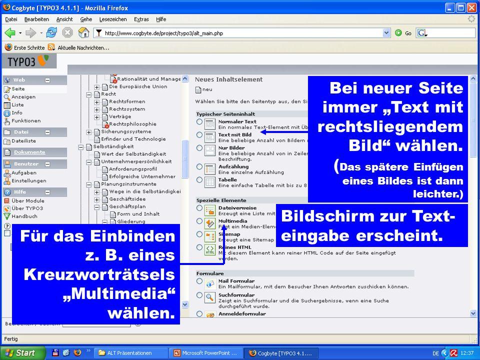 Bei neuer Seite immer Text mit rechtsliegendem Bild wählen.