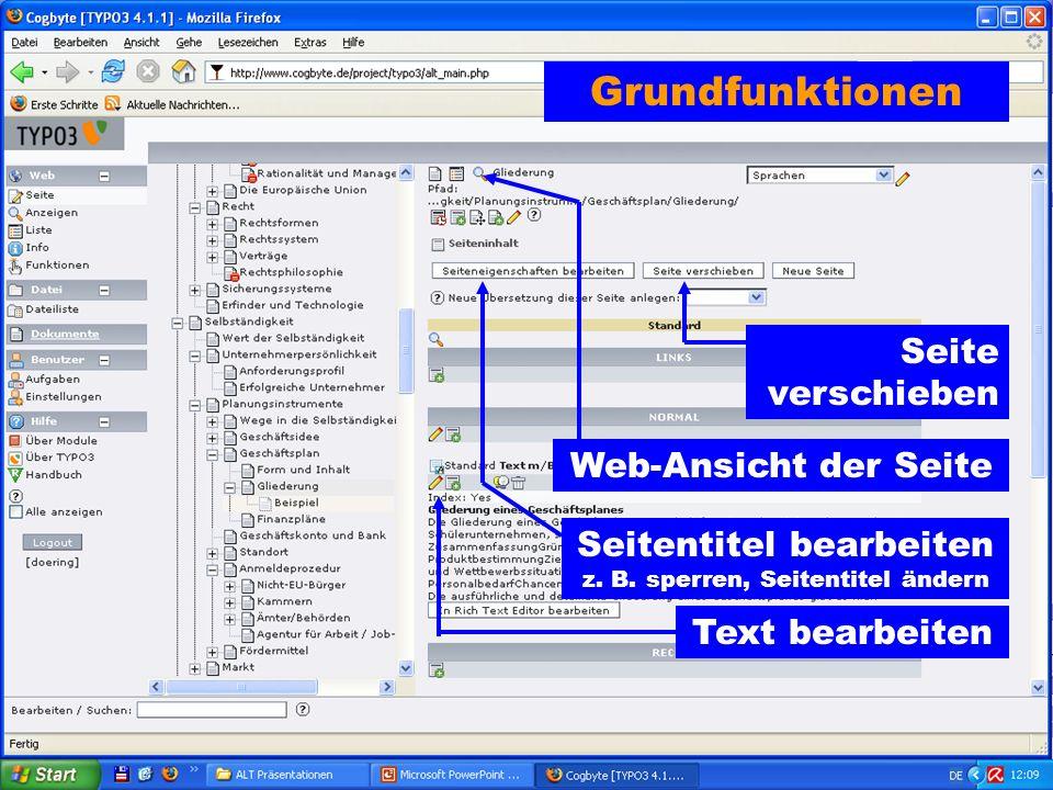 Seite verschieben Web-Ansicht der Seite Seitentitel bearbeiten z.