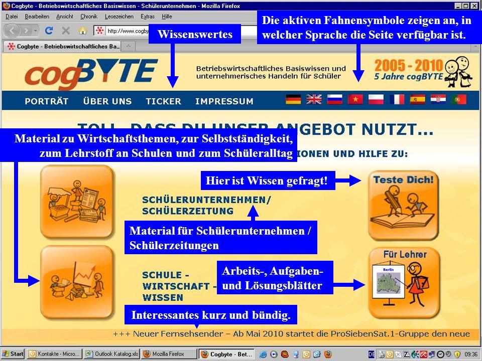 Die aktiven Fahnensymbole zeigen an, in welcher Sprache die Seite verfügbar ist. Material zu Wirtschaftsthemen, zur Selbstständigkeit, zum Lehrstoff a