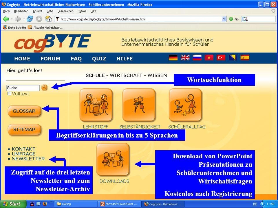 Download von PowerPoint Präsentationen zu Schülerunternehmen und Wirtschaftsfragen Kostenlos nach Registrierung Begriffserklärungen in bis zu 5 Sprach