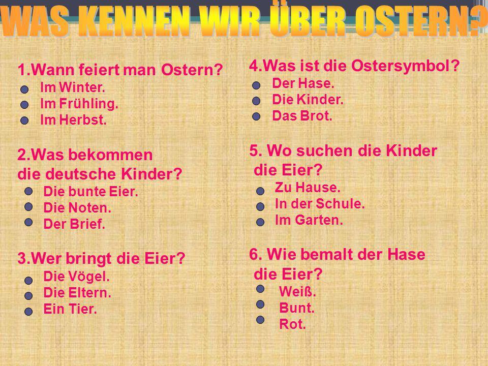 Ostern in Deutschland und in Russland Die TiereWer bringt die Eier.