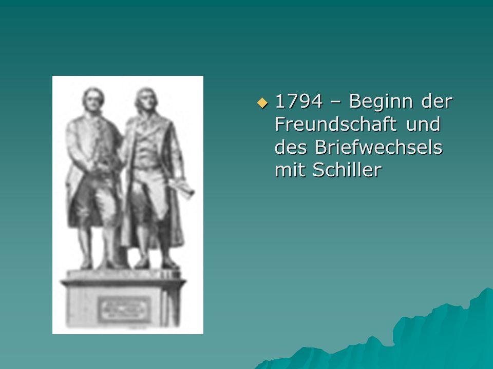 1794 – Beginn der Freundschaft und des Briefwechsels mit Schiller 1794 – Beginn der Freundschaft und des Briefwechsels mit Schiller
