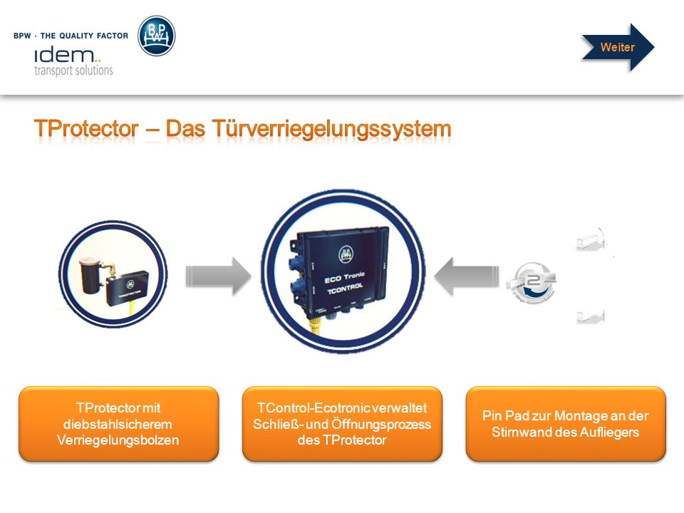 TProtector mit diebstahlsicherem Verriegelungsbolzen Pin Pad zur Montage an der Stirnwand des Aufliegers TControl-Ecotronic verwaltet Schließ- und Öff