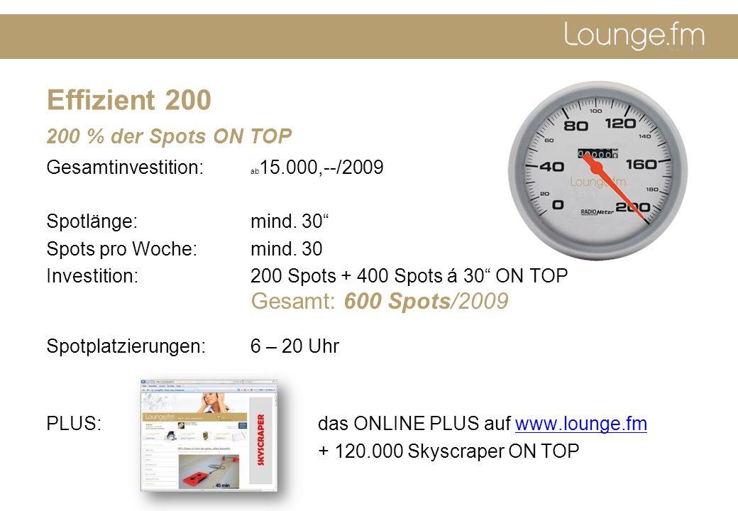 Effizient 200 Gesamtinvestition: ab 15.000,--/2009 Spotlänge: mind.