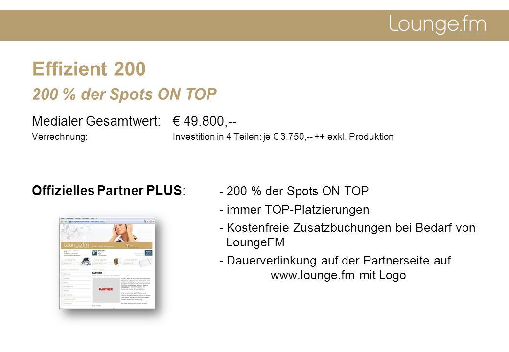 Effizient 200 Medialer Gesamtwert: 49.800,-- Verrechnung: Investition in 4 Teilen: je 3.750,-- ++ exkl.