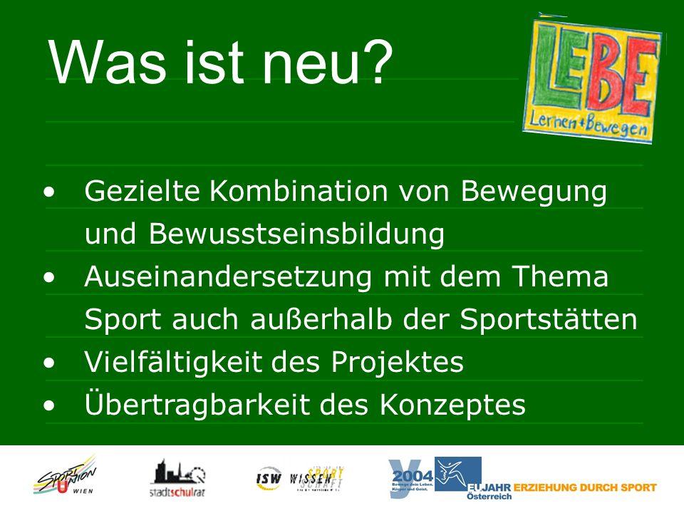 Gezielte Kombination von Bewegung und Bewusstseinsbildung Auseinandersetzung mit dem Thema Sport auch außerhalb der Sportstätten Vielfältigkeit des Projektes Übertragbarkeit des Konzeptes Was ist neu