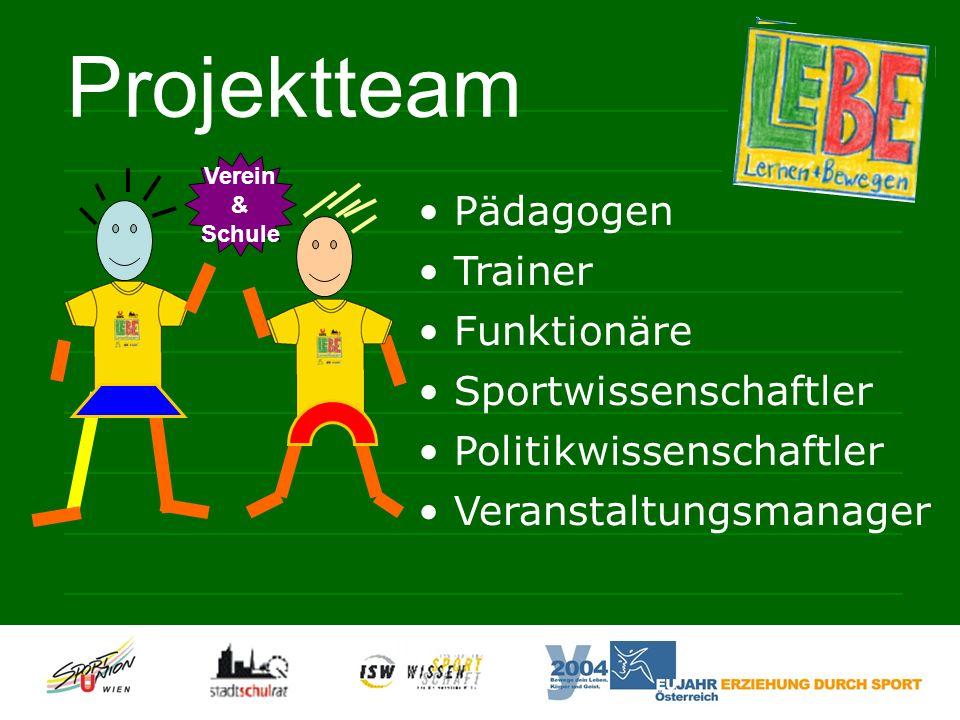 Pädagogen Trainer Funktionäre Sportwissenschaftler Politikwissenschaftler Veranstaltungsmanager Projektteam Verein & Schule