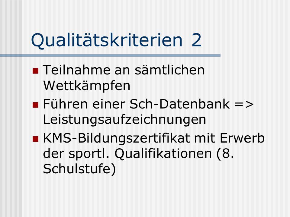 Qualitätskriterien 2 Teilnahme an sämtlichen Wettkämpfen Führen einer Sch-Datenbank => Leistungsaufzeichnungen KMS-Bildungszertifikat mit Erwerb der s