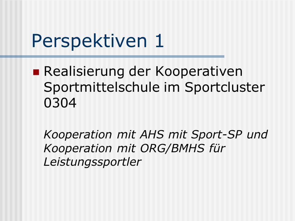 Perspektiven 1 Realisierung der Kooperativen Sportmittelschule im Sportcluster 0304 Kooperation mit AHS mit Sport-SP und Kooperation mit ORG/BMHS für Leistungssportler