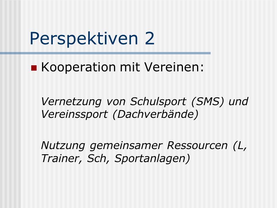 Perspektiven 2 Kooperation mit Vereinen: Vernetzung von Schulsport (SMS) und Vereinssport (Dachverbände) Nutzung gemeinsamer Ressourcen (L, Trainer, Sch, Sportanlagen)