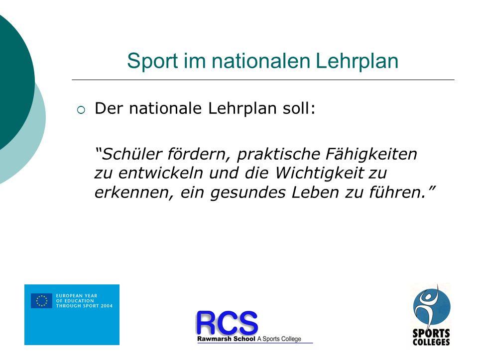Sport im nationalen Lehrplan Der nationale Lehrplan soll: Schüler fördern, praktische Fähigkeiten zu entwickeln und die Wichtigkeit zu erkennen, ein g