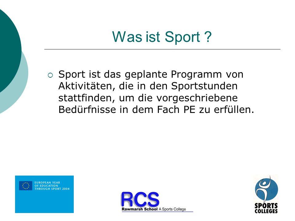 Was ist Sport ? Sport ist das geplante Programm von Aktivitäten, die in den Sportstunden stattfinden, um die vorgeschriebene Bedürfnisse in dem Fach P