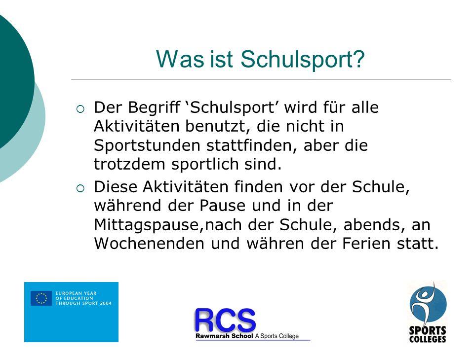 Was ist Schulsport? Der Begriff Schulsport wird für alle Aktivitäten benutzt, die nicht in Sportstunden stattfinden, aber die trotzdem sportlich sind.