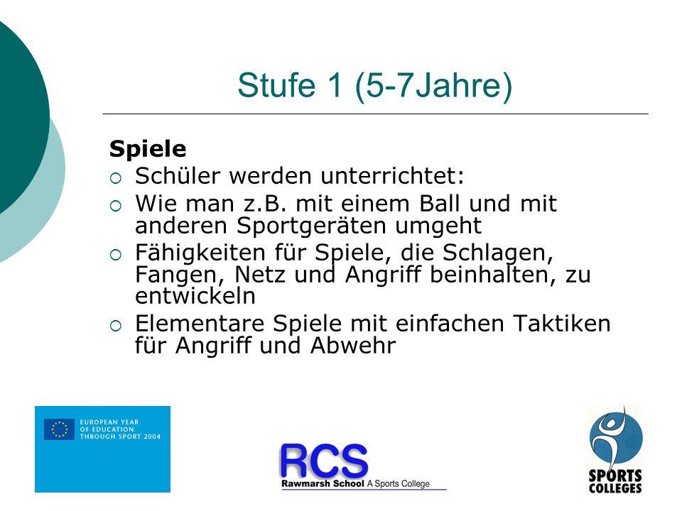 Stufe 1 (5-7Jahre) Spiele Schüler werden unterrichtet: Wie man z.B. mit einem Ball und mit anderen Sportgeräten umgeht Fähigkeiten für Spiele, die Sch
