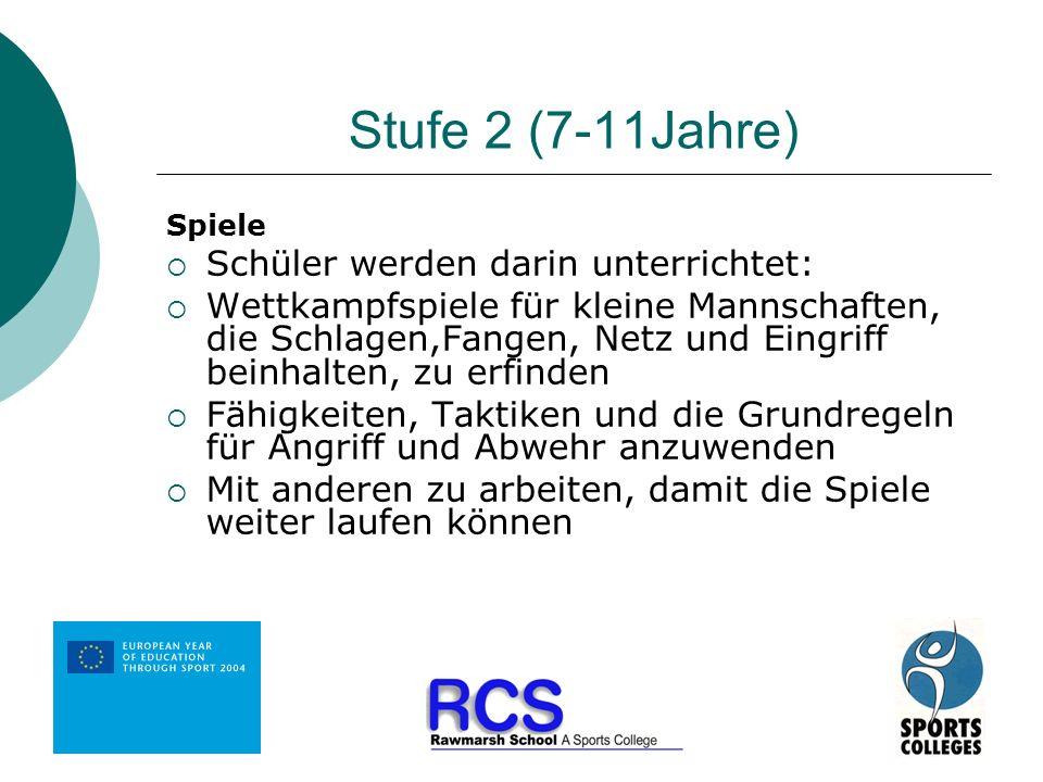 Stufe 2 (7-11Jahre) Spiele Schüler werden darin unterrichtet: Wettkampfspiele für kleine Mannschaften, die Schlagen,Fangen, Netz und Eingriff beinhalt
