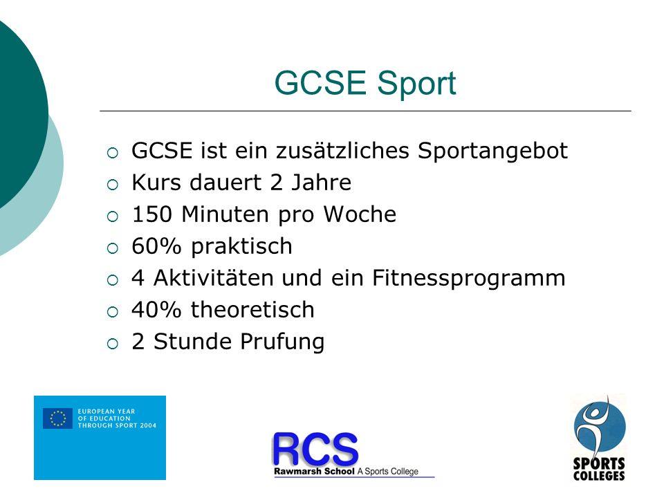GCSE Sport GCSE ist ein zusätzliches Sportangebot Kurs dauert 2 Jahre 150 Minuten pro Woche 60% praktisch 4 Aktivitäten und ein Fitnessprogramm 40% th